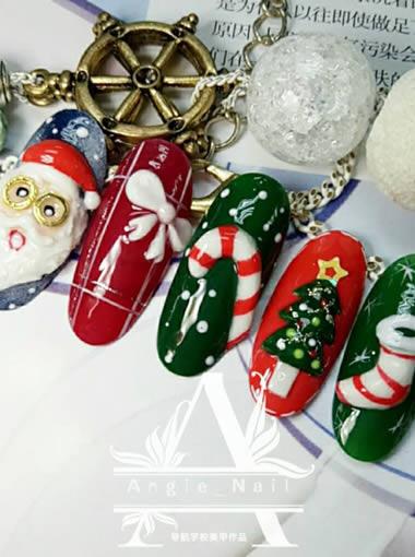 圣诞节美甲作品